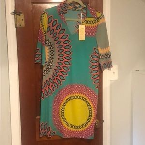 Fun patterned dress with comfortable material.